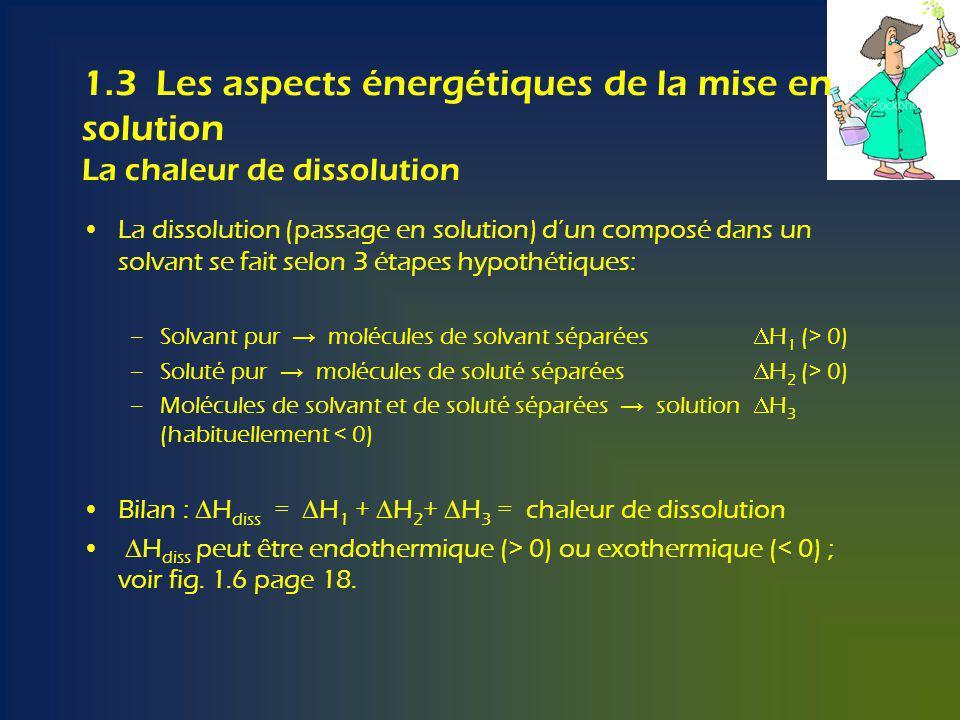 1.3 Les aspects énergétiques de la mise en solution La chaleur de dissolution La dissolution (passage en solution) dun composé dans un solvant se fait selon 3 étapes hypothétiques: –Solvant pur molécules de solvant séparées H 1 (> 0) –Soluté pur molécules de soluté séparées H 2 (> 0) –Molécules de solvant et de soluté séparées solution H 3 (habituellement < 0) Bilan : H diss = H 1 + H 2 + H 3 = chaleur de dissolution H diss peut être endothermique (> 0) ou exothermique (< 0) ; voir fig.