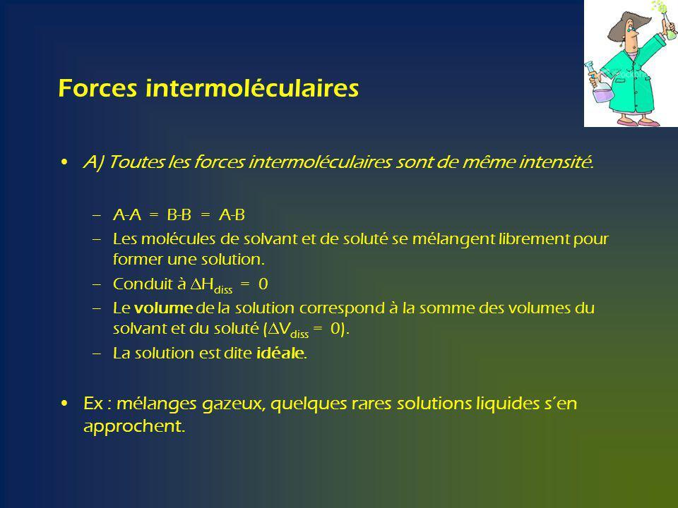 Forces intermoléculaires A) Toutes les forces intermoléculaires sont de même intensité.