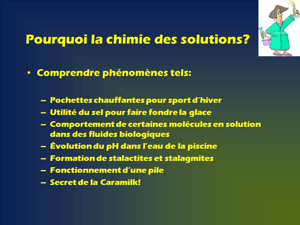 Pourquoi la chimie des solutions.