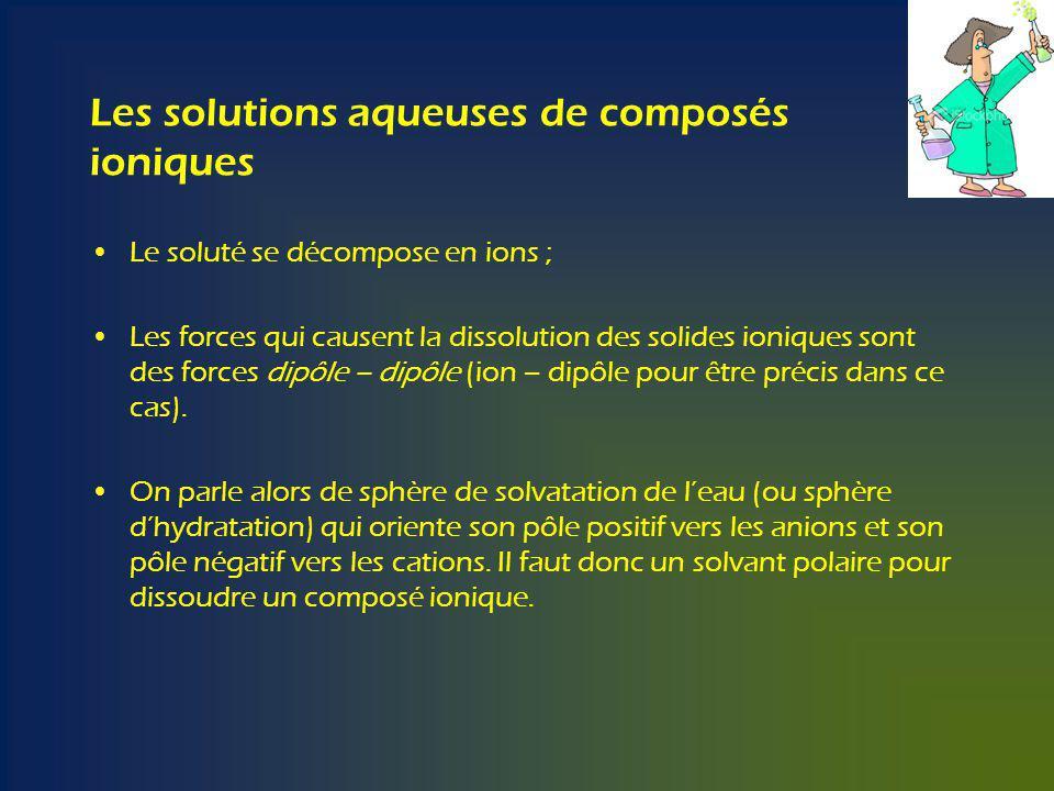 Les solutions aqueuses de composés ioniques Le soluté se décompose en ions ; Les forces qui causent la dissolution des solides ioniques sont des forces dipôle – dipôle (ion – dipôle pour être précis dans ce cas).