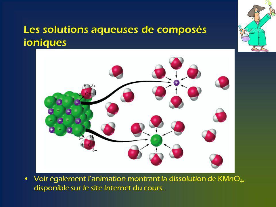 Les solutions aqueuses de composés ioniques Voir également lanimation montrant la dissolution de KMnO 4, disponible sur le site Internet du cours.