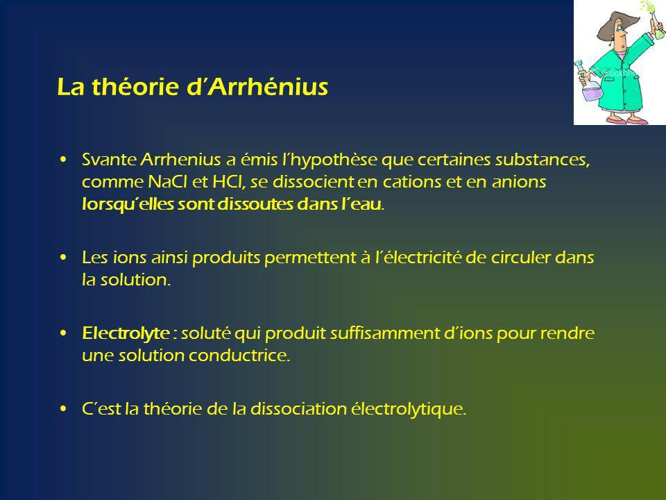 La théorie dArrhénius Svante Arrhenius a émis lhypothèse que certaines substances, comme NaCl et HCl, se dissocient en cations et en anions lorsquelles sont dissoutes dans leau.