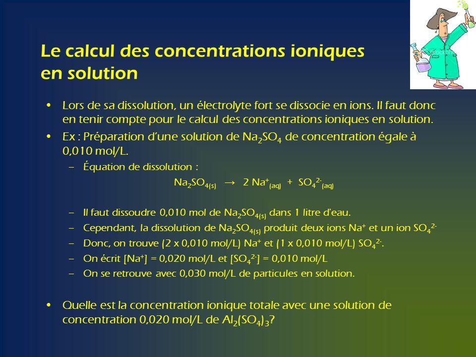 Le calcul des concentrations ioniques en solution Lors de sa dissolution, un électrolyte fort se dissocie en ions.