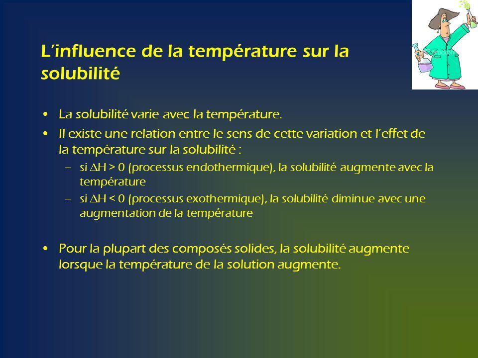 Linfluence de la température sur la solubilité La solubilité varie avec la température.