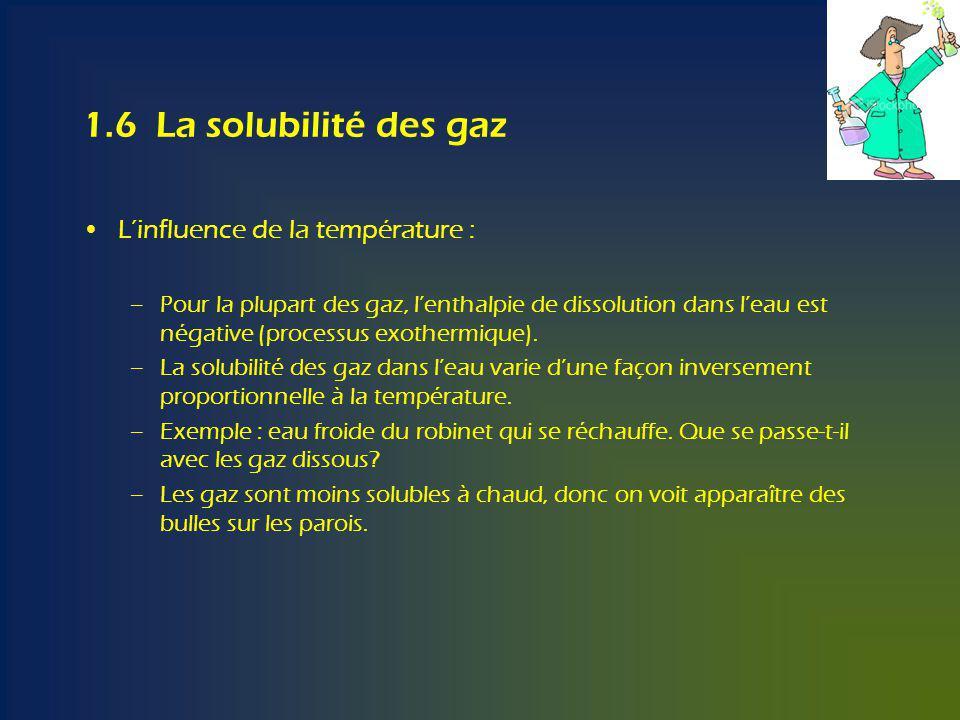 1.6 La solubilité des gaz Linfluence de la température : –Pour la plupart des gaz, lenthalpie de dissolution dans leau est négative (processus exothermique).