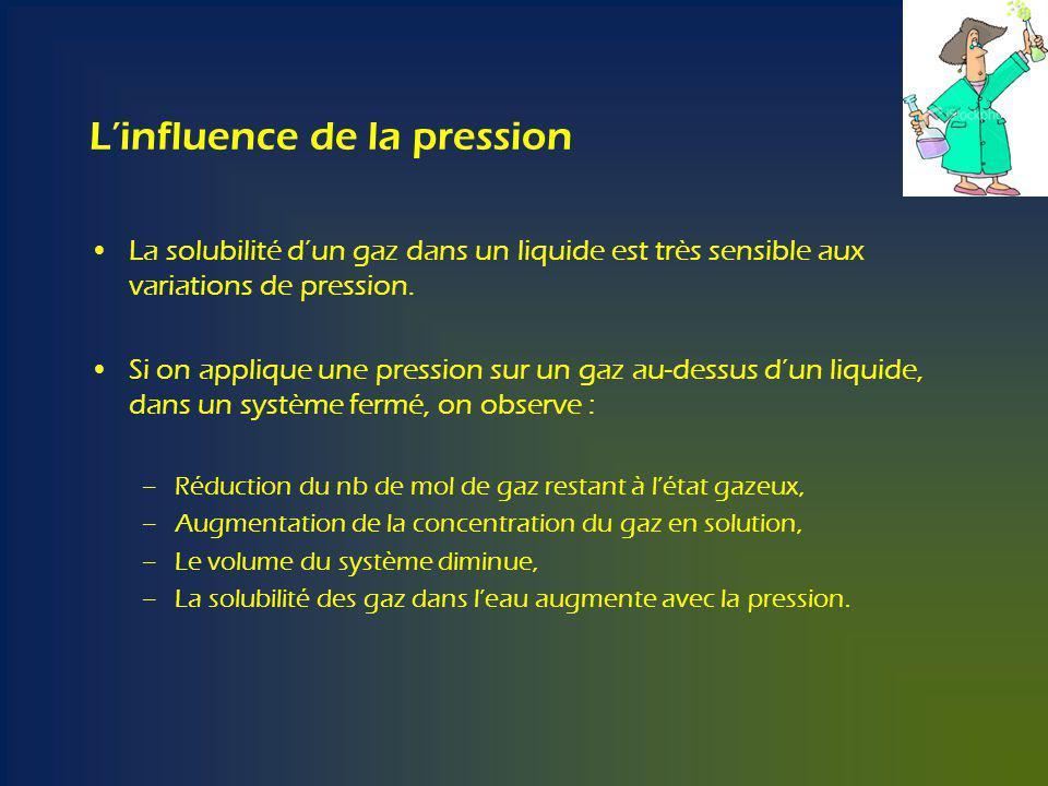 Linfluence de la pression La solubilité dun gaz dans un liquide est très sensible aux variations de pression.