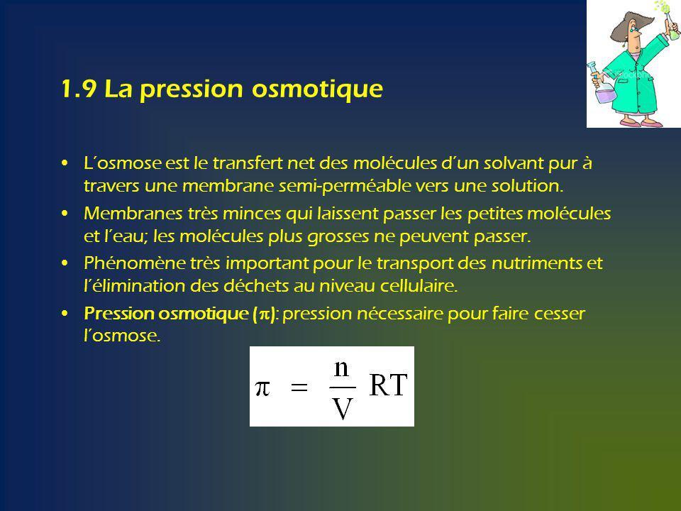 1.9 La pression osmotique Losmose est le transfert net des molécules dun solvant pur à travers une membrane semi-perméable vers une solution.