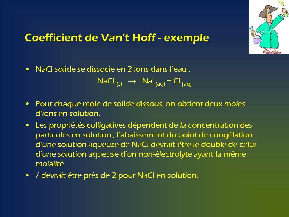 Coefficient de Vant Hoff - exemple NaCl solide se dissocie en 2 ions dans leau : NaCl (s) Na + (aq) + Cl - (aq) Pour chaque mole de solide dissous, on obtient deux moles dions en solution.
