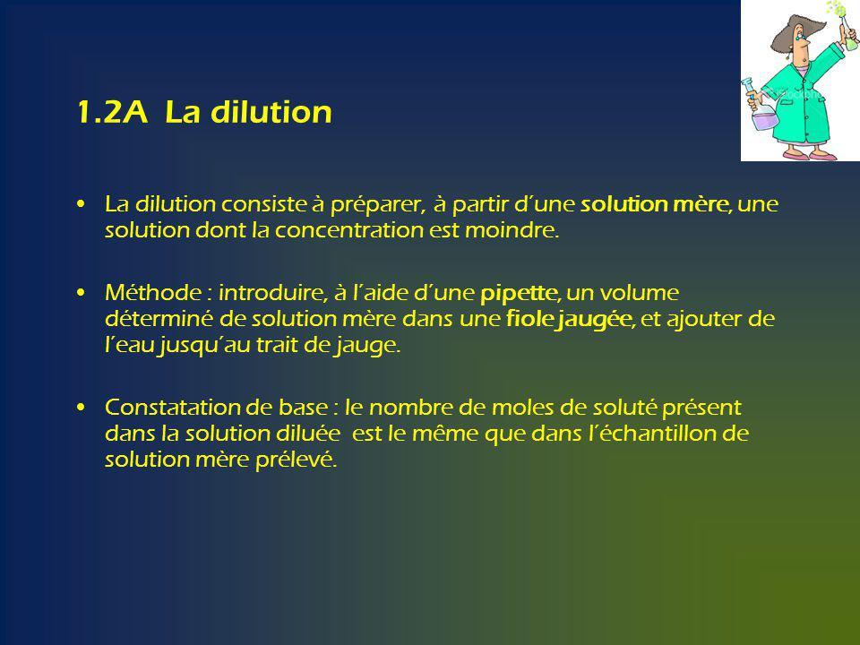 1.2A La dilution La dilution consiste à préparer, à partir dune solution mère, une solution dont la concentration est moindre.