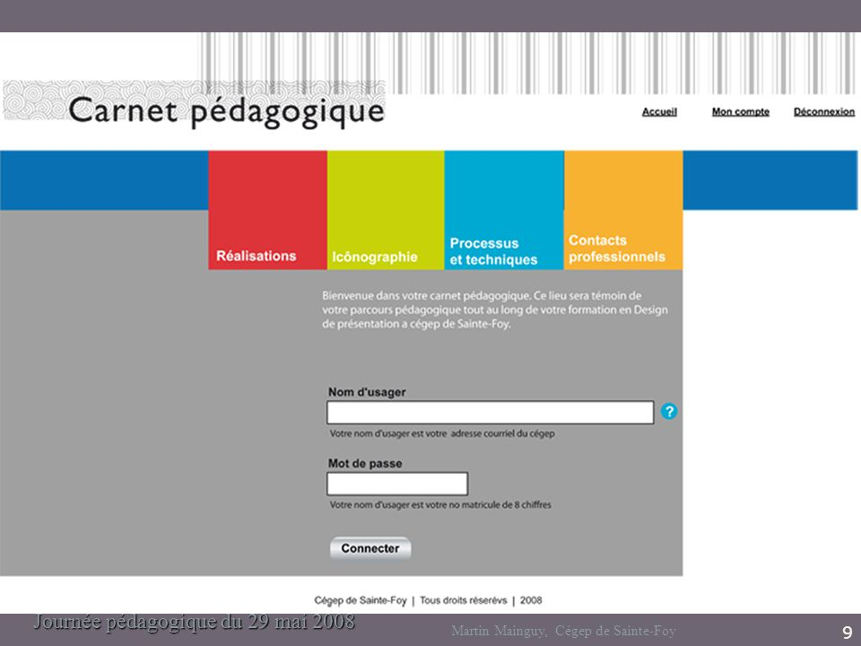Journée pédagogique du 29 mai 2008 Martin Mainguy, Cégep de Sainte-Foy 9