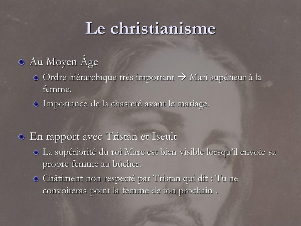 Le christianisme Au Moyen Âge Ordre hiérarchique très important Mari supérieur à la femme. Importance de la chasteté avant le mariage. En rapport avec