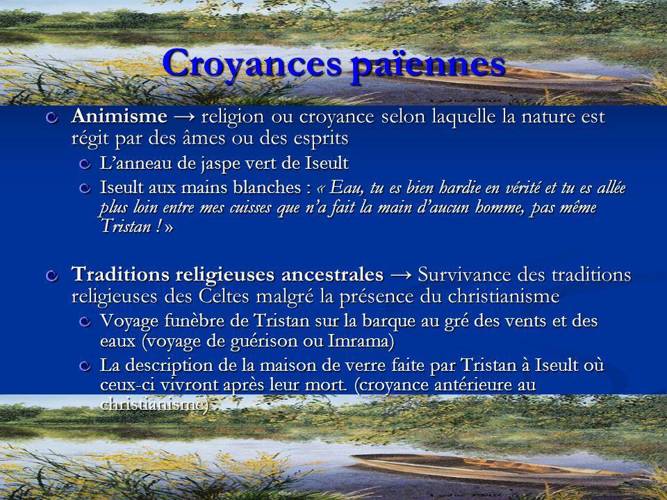 Croyances païennes Animisme religion ou croyance selon laquelle la nature est régit par des âmes ou des esprits Lanneau de jaspe vert de Iseult Iseult