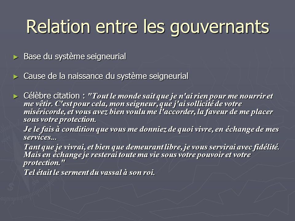 Relation entre les gouvernants Base du système seigneurial Base du système seigneurial Cause de la naissance du système seigneurial Cause de la naissa