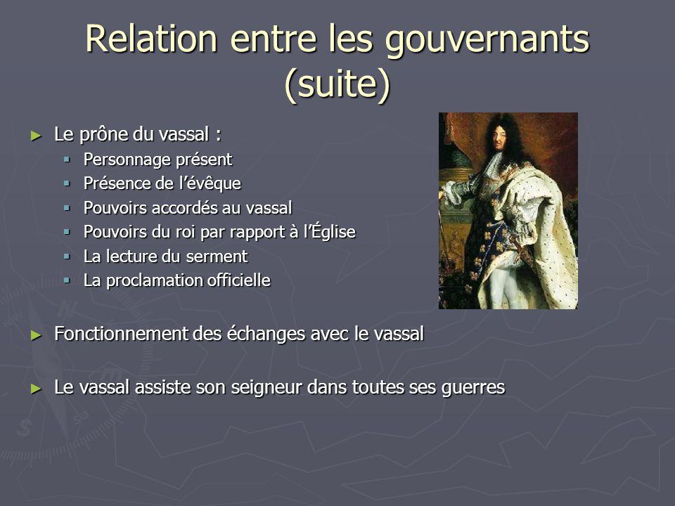 Relation entre les gouvernants (suite) Le prône du vassal : Le prône du vassal : Personnage présent Personnage présent Présence de lévêque Présence de