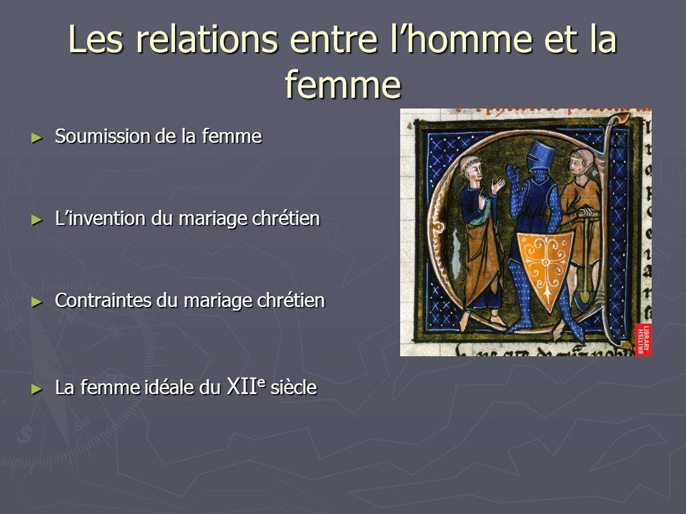 Les relations entre lhomme et la femme Soumission de la femme Soumission de la femme Linvention du mariage chrétien Linvention du mariage chrétien Con