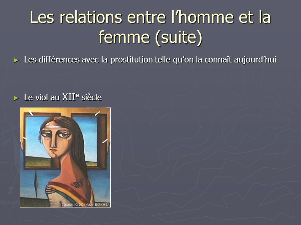 Les relations entre lhomme et la femme (suite) Les différences avec la prostitution telle quon la connaît aujourdhui Les différences avec la prostitut