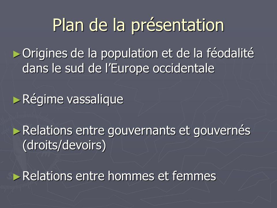Plan de la présentation Origines de la population et de la féodalité dans le sud de lEurope occidentale Origines de la population et de la féodalité d