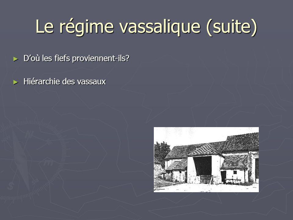 Le régime vassalique (suite) Doù les fiefs proviennent-ils? Doù les fiefs proviennent-ils? Hiérarchie des vassaux Hiérarchie des vassaux