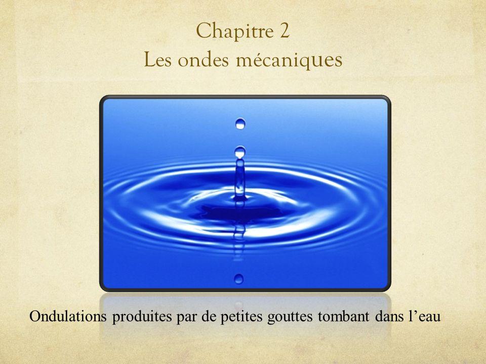 Chapitre 2 Les ondes mécaniq ues Ondulations produites par de petites gouttes tombant dans leau