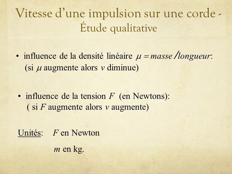 Vitesse dune impulsion sur une corde - Étude qualitative influence de la densité linéaire masse / longueur: (si augmente alors v diminue) influence de la tension F (en Newtons): ( si F augmente alors v augmente) Unités: F en Newton m en kg.