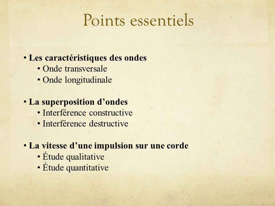 Points essentiels Les caractéristiques des ondes Onde transversale Onde longitudinale La superposition dondes Interférence constructive Interférence destructive La vitesse dune impulsion sur une corde Étude qualitative Étude quantitative