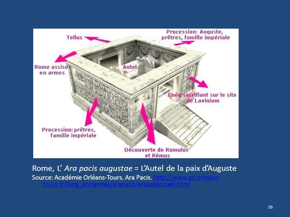 26 Rome, L Ara pacis augustae = LAutel de la paix dAuguste Source: Académie Orléans-Tours. Ara Pacis. http://www.ac-orleans- tours.fr/lang_anciennes/a