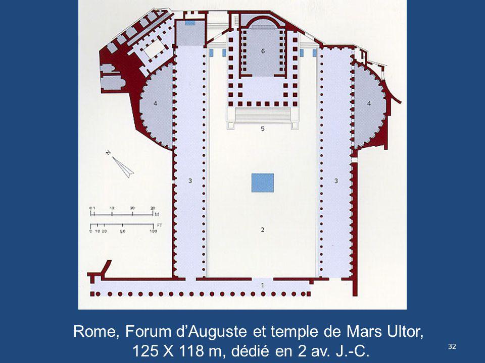 32 Rome, Forum dAuguste et temple de Mars Ultor, 125 X 118 m, dédié en 2 av. J.-C.