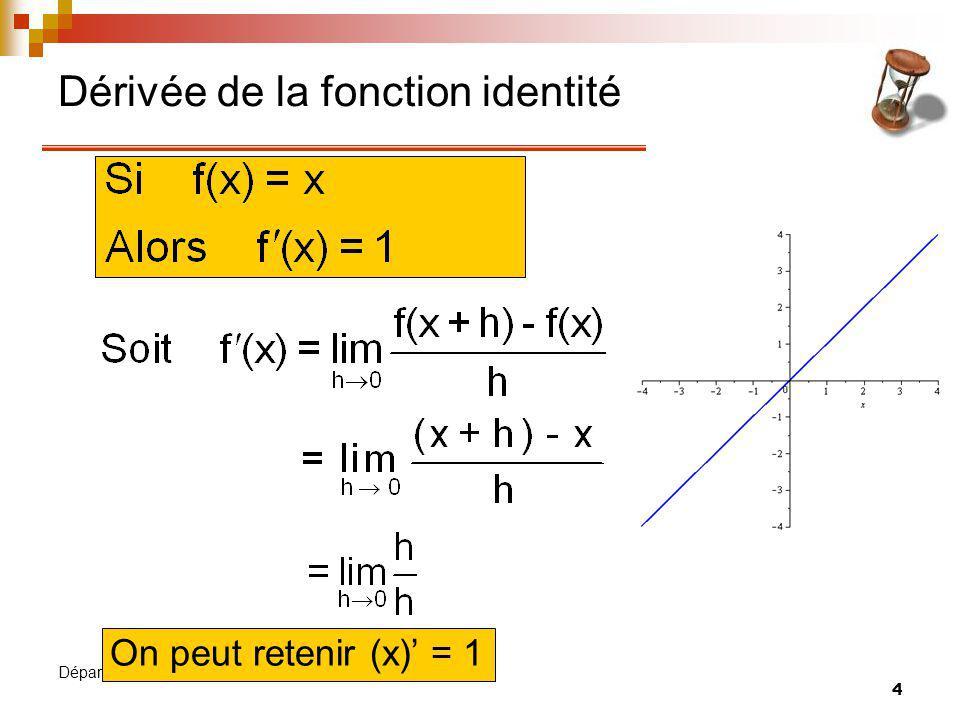 5 Département de mathématiques Dérivée du produit dune constante par une f n On peut retenir [kf(x)] = kf(x)