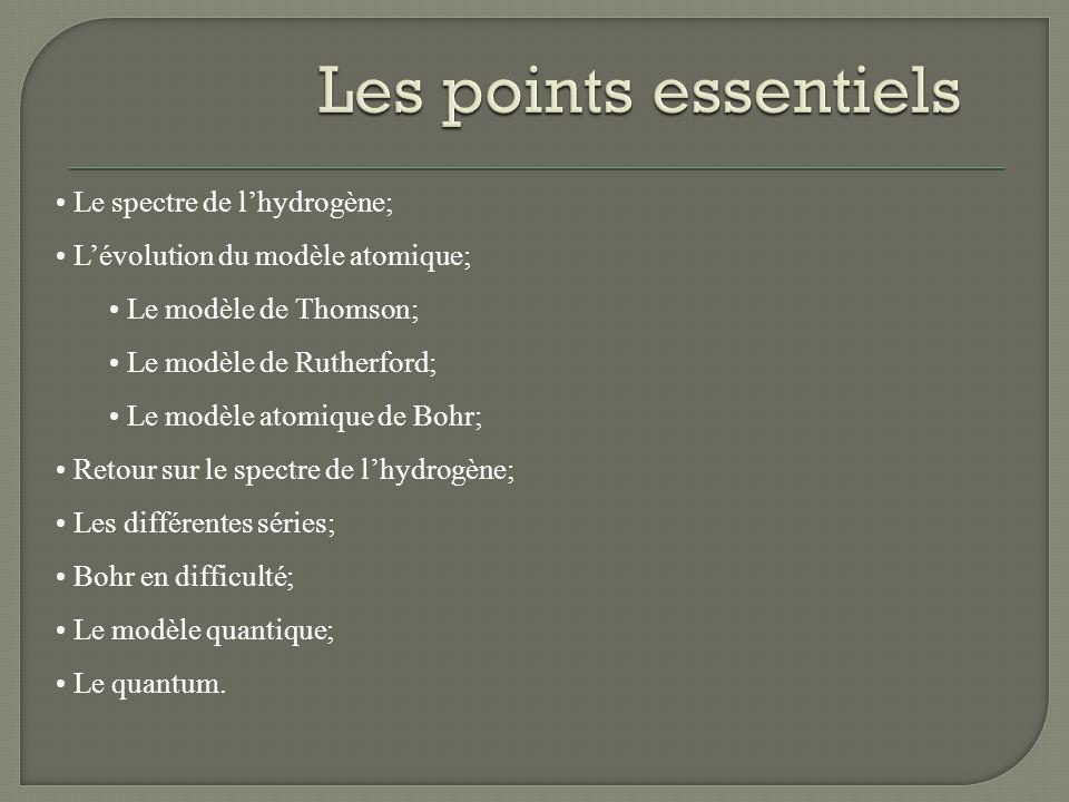 Le spectre de lhydrogène; Lévolution du modèle atomique; Le modèle de Thomson; Le modèle de Rutherford; Le modèle atomique de Bohr; Retour sur le spec