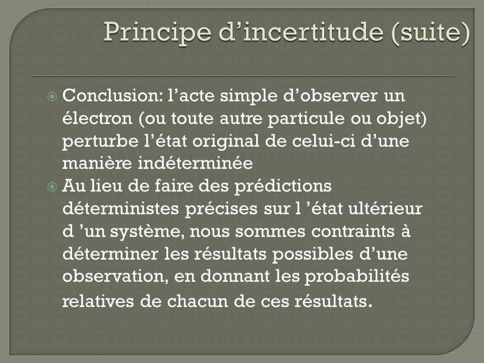 Conclusion: lacte simple dobserver un électron (ou toute autre particule ou objet) perturbe létat original de celui-ci dune manière indéterminée Au li