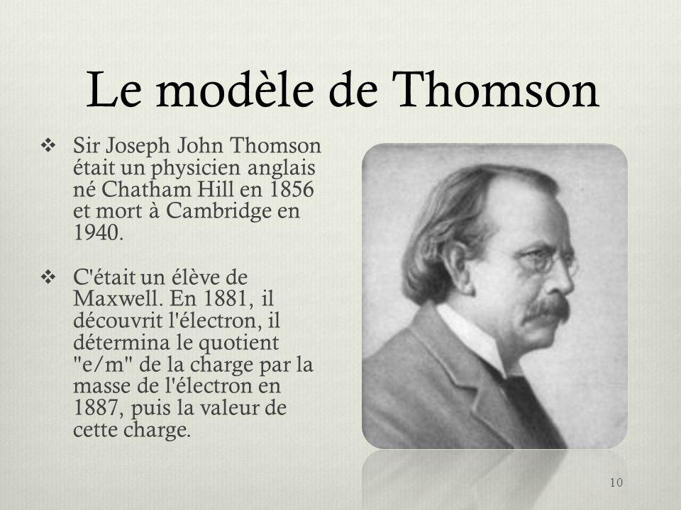 Le modèle de Thomson Sir Joseph John Thomson était un physicien anglais né Chatham Hill en 1856 et mort à Cambridge en 1940. C'était un élève de Maxwe