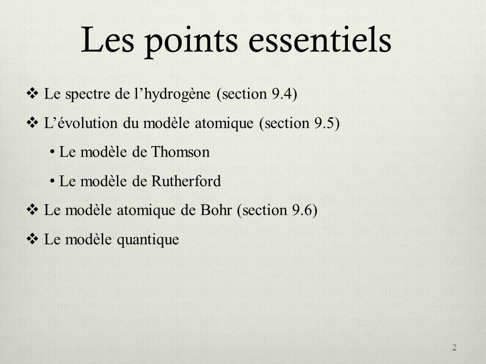 Les points essentiels Le spectre de lhydrogène (section 9.4) Lévolution du modèle atomique (section 9.5) Le modèle de Thomson Le modèle de Rutherford