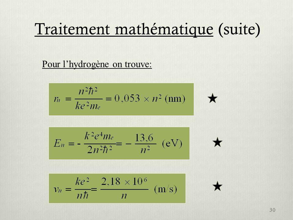 Traitement mathématique (suite) Pour lhydrogène on trouve: 30