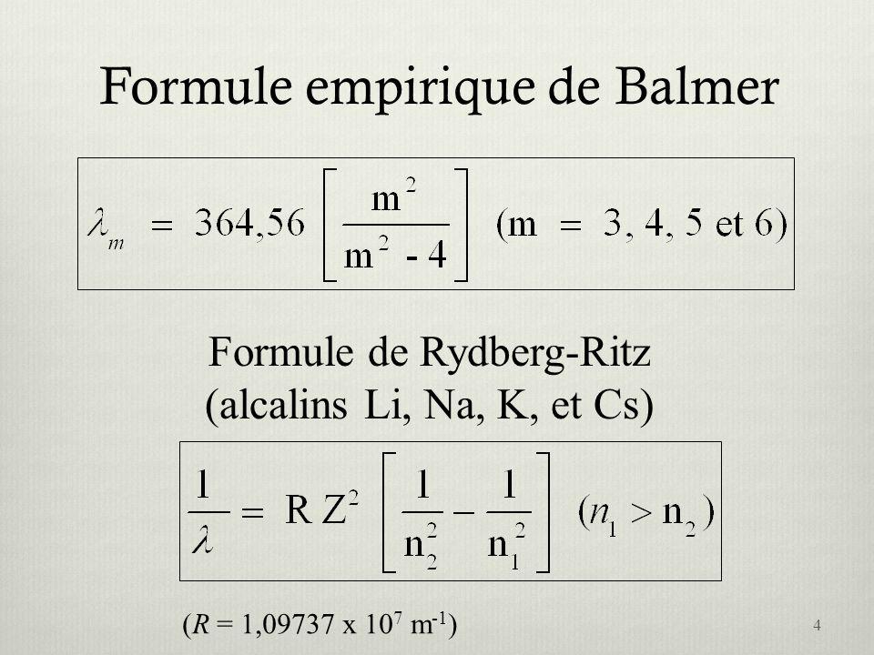 Formule empirique de Balmer Formule de Rydberg-Ritz (alcalins Li, Na, K, et Cs) (R = 1,09737 x 10 7 m -1 ) 4