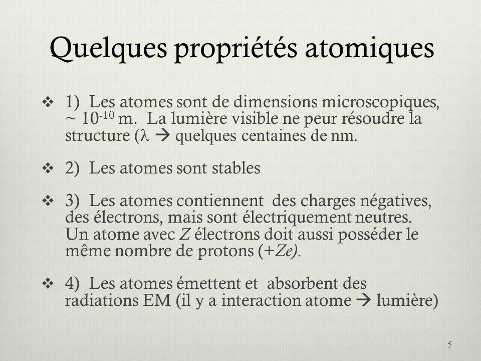 Quelques propriétés atomiques 1)Les atomes sont de dimensions microscopiques, ~ 10 -10 m. La lumière visible ne peur résoudre la structure quelques ce