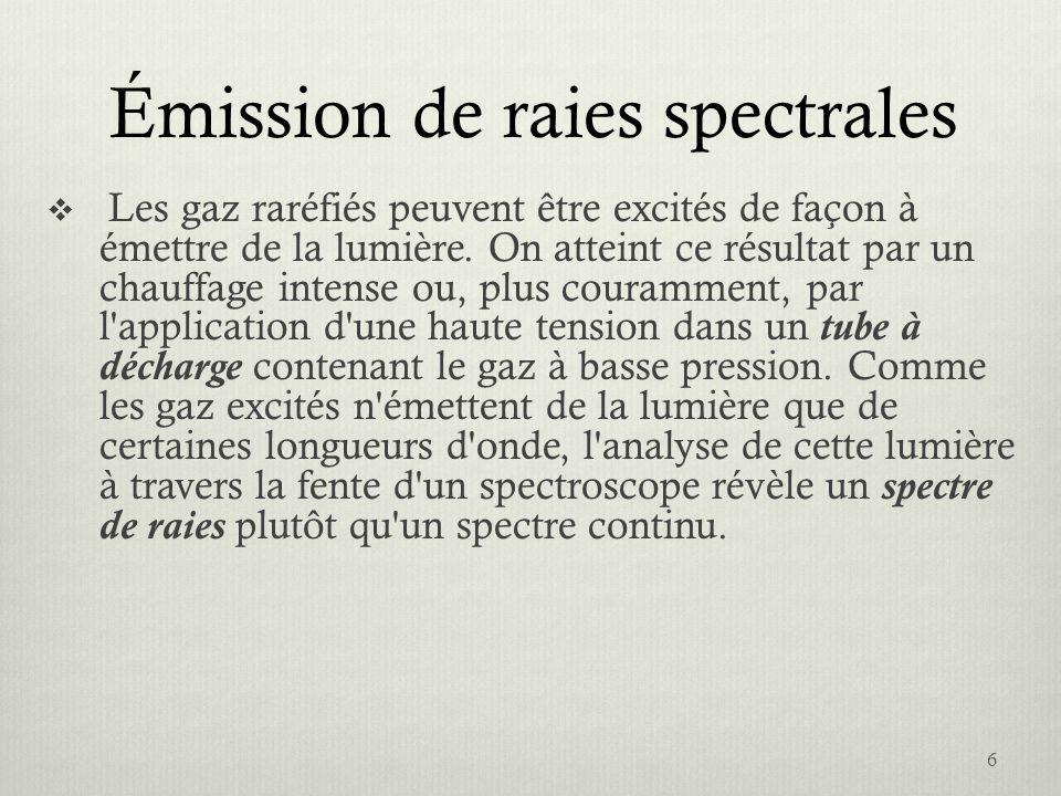 Émission de raies spectrales Les gaz raréfiés peuvent être excités de façon à émettre de la lumière. On atteint ce résultat par un chauffage intense o