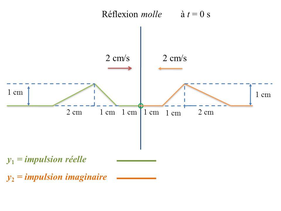 2 cm/s 1 cm 2 cm Réflexion molleà t = 0 s 2 cm/s 1 cm 2 cm y 2 = impulsion imaginaire y 1 = impulsion réelle