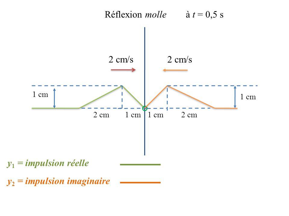 2 cm/s 1 cm 2 cm Réflexion molleà t = 0,5 s 2 cm/s 1 cm 2 cm y 2 = impulsion imaginaire y 1 = impulsion réelle
