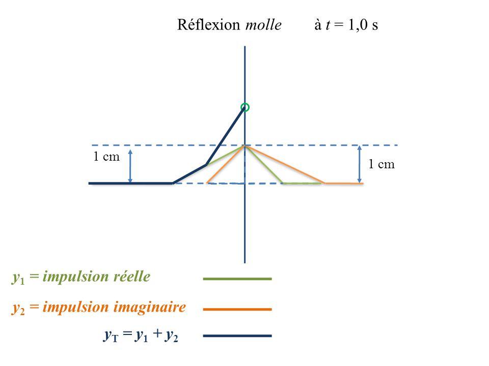 1 cm Réflexion molleà t = 1,0 s 1 cm y 2 = impulsion imaginaire y 1 = impulsion réelle y T = y 1 + y 2