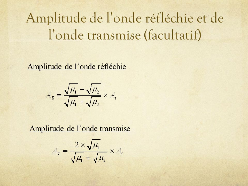 Amplitude de londe réfléchie Amplitude de londe transmise