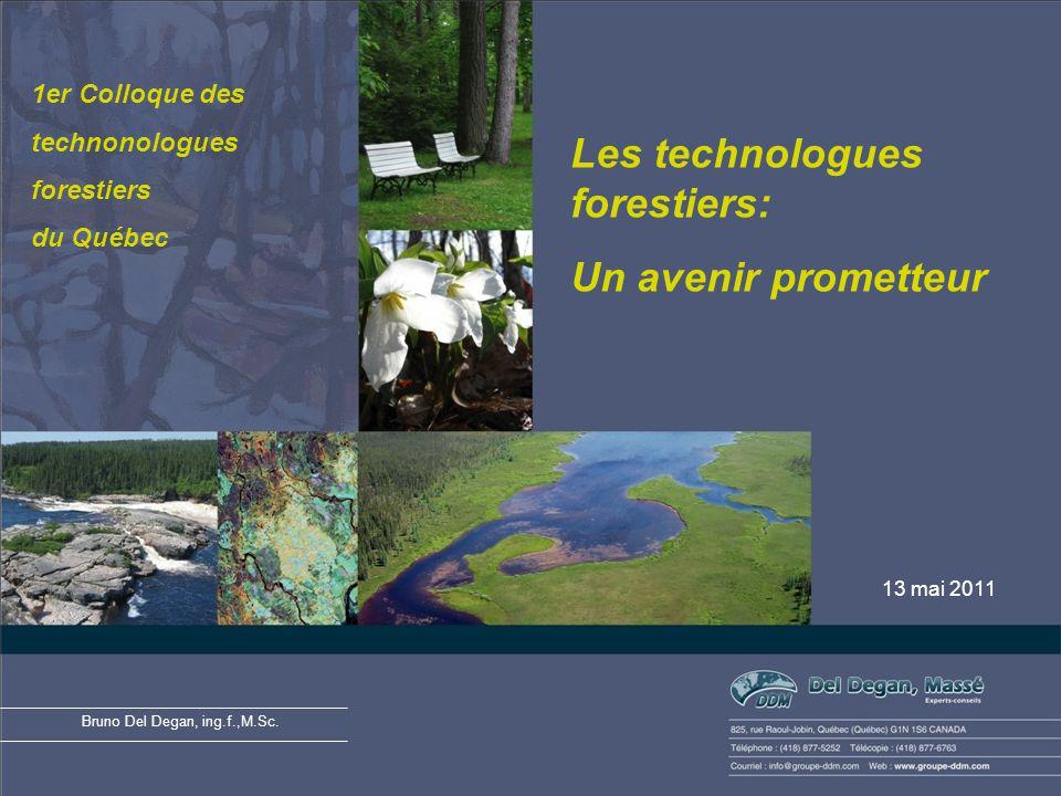 Les technologues forestiers: Un avenir prometteur 13 mai 2011 Bruno Del Degan, ing.f.,M.Sc.