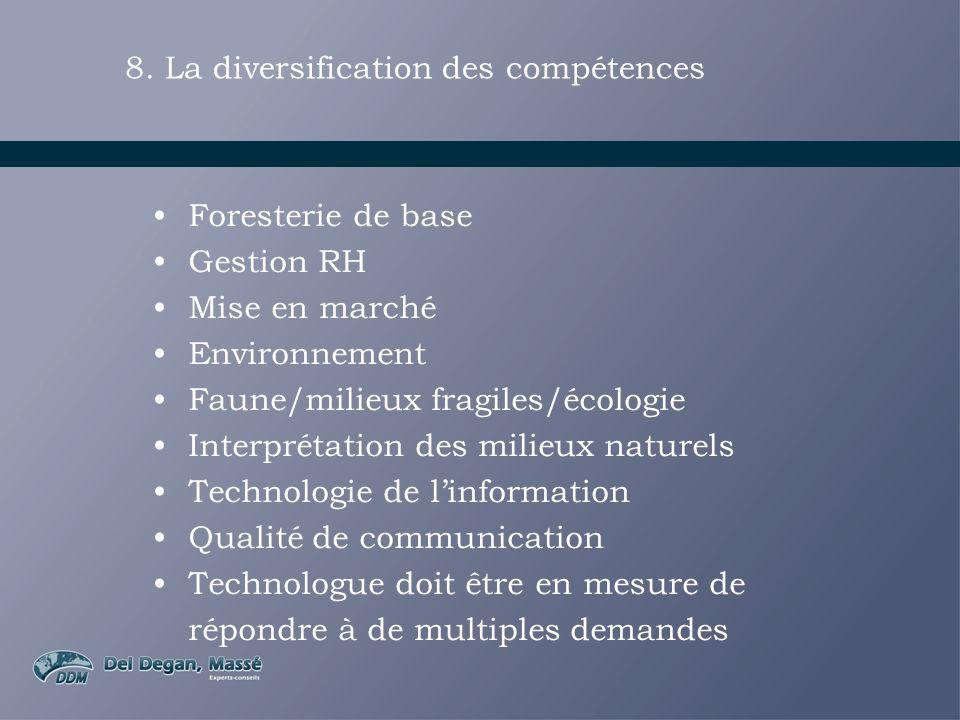 8. La diversification des compétences Foresterie de base Gestion RH Mise en marché Environnement Faune/milieux fragiles/écologie Interprétation des mi