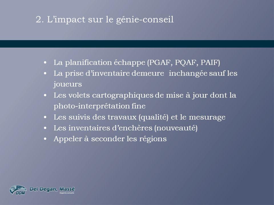 2. Limpact sur le génie-conseil La planification échappe (PGAF, PQAF, PAIF) La prise dinventaire demeure inchangée sauf les joueurs Les volets cartogr