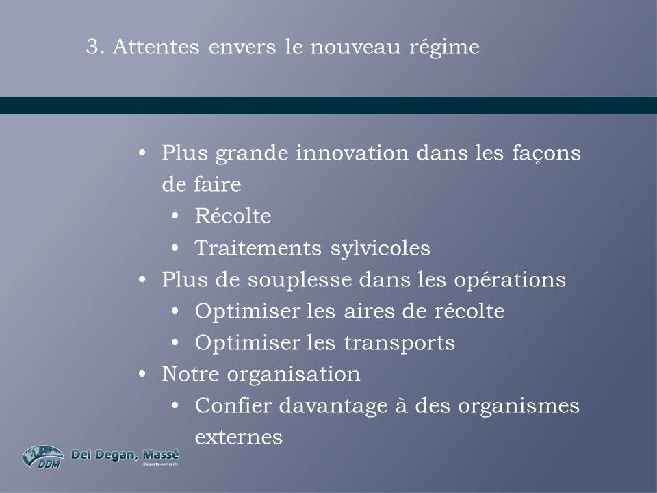 3. Attentes envers le nouveau régime Plus grande innovation dans les façons de faire Récolte Traitements sylvicoles Plus de souplesse dans les opérati
