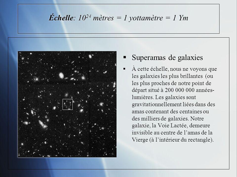 Échelle: 10 24 mètres = 1 yottamètre = 1 Ym Superamas de galaxies À cette échelle, nous ne voyons que les galaxies les plus brillantes (ou les plus proches de notre point de départ situé à 200 000 000 années- lumières.