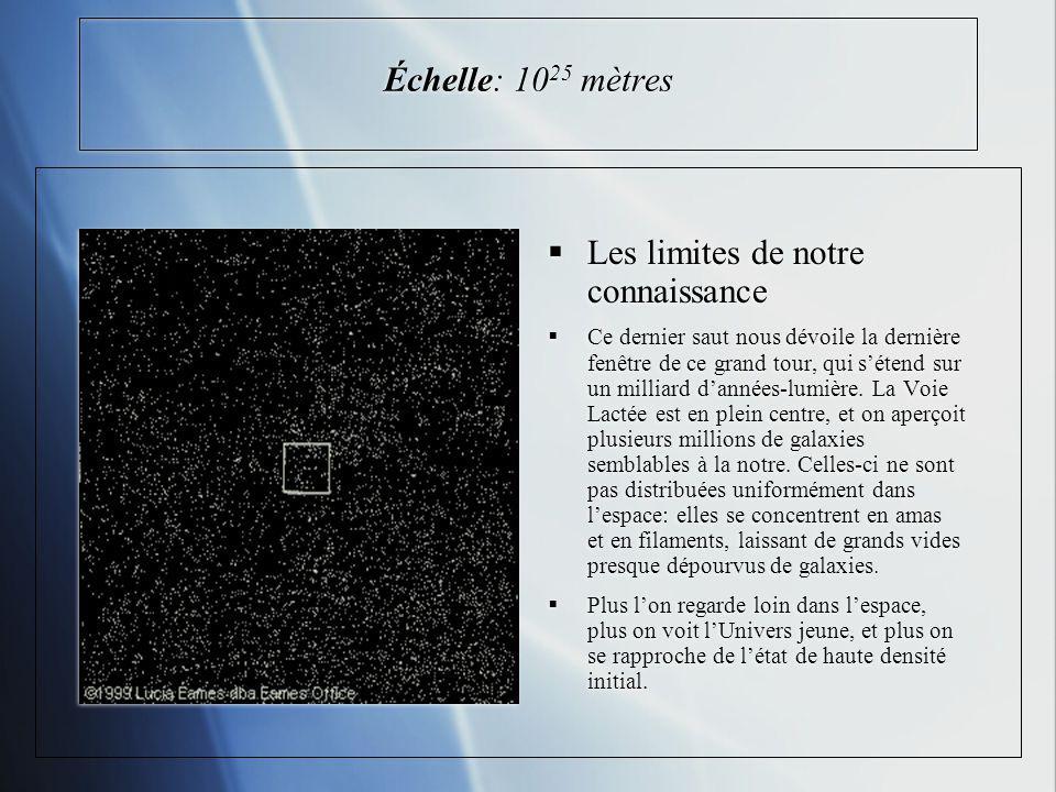 Échelle: 10 25 mètres Les limites de notre connaissance Ce dernier saut nous dévoile la dernière fenêtre de ce grand tour, qui sétend sur un milliard dannées-lumière.