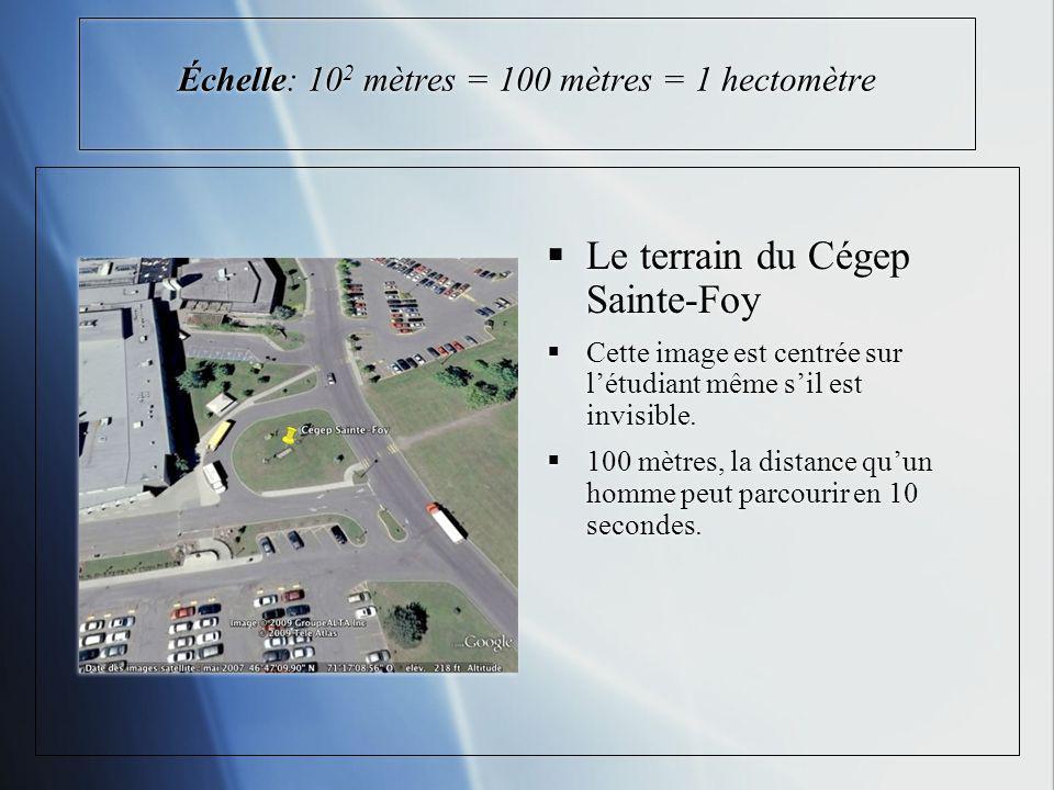Échelle: 10 2 mètres = 100 mètres = 1 hectomètre Le terrain du Cégep Sainte-Foy Cette image est centrée sur létudiant même sil est invisible. 100 mètr