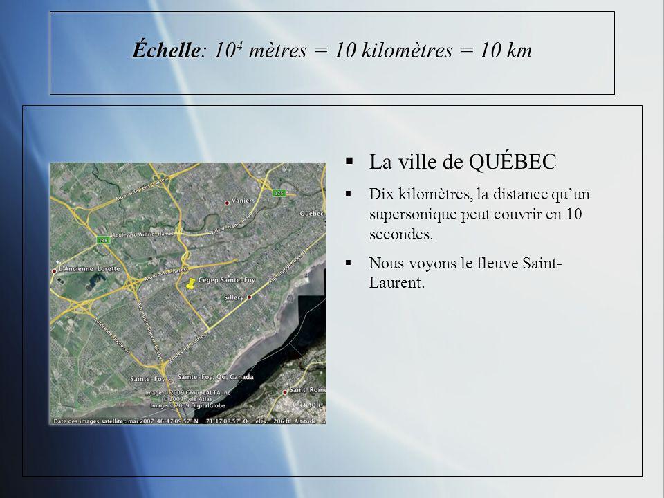 Échelle: 10 4 mètres = 10 kilomètres = 10 km La ville de QUÉBEC Dix kilomètres, la distance quun supersonique peut couvrir en 10 secondes. Nous voyons