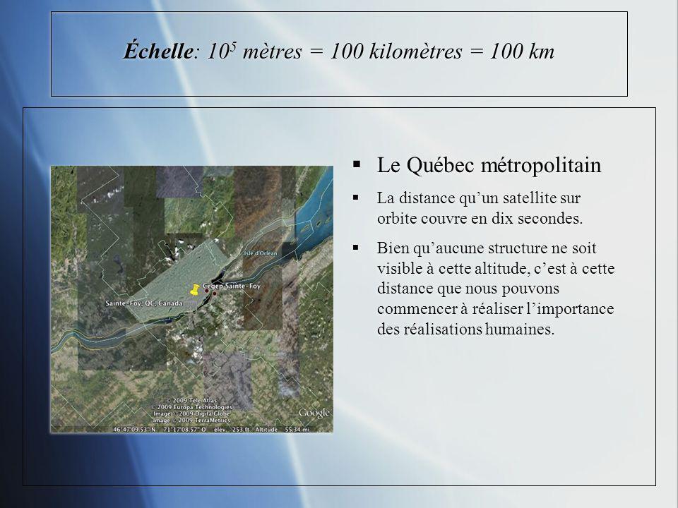 Échelle: 10 5 mètres = 100 kilomètres = 100 km Le Québec métropolitain La distance quun satellite sur orbite couvre en dix secondes. Bien quaucune str