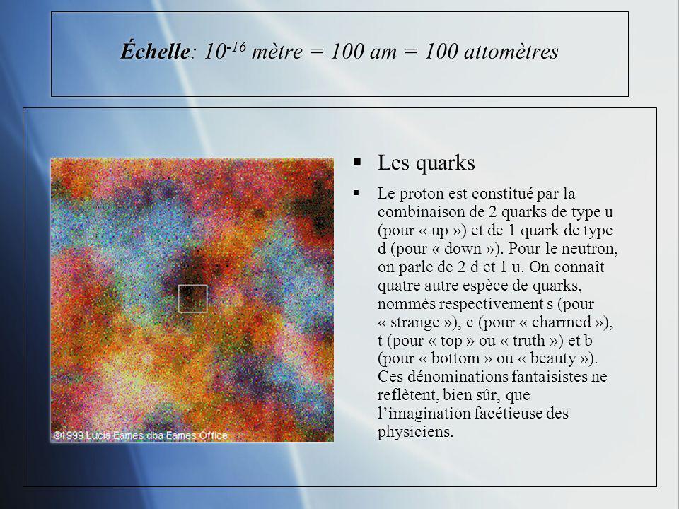 Échelle: 10 -16 mètre = 100 am = 100 attomètres Les quarks Le proton est constitué par la combinaison de 2 quarks de type u (pour « up ») et de 1 quar